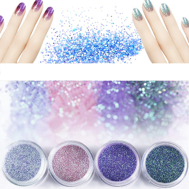 4Pcs 3D Colorful Nail Art Body Tattoo Glitter Powder Decoration