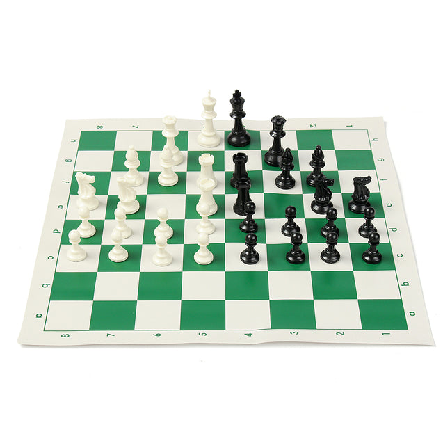 16 inch Tournament Chess Set Game Plastic Pieces Green Roll Outdoor Travel Camping Game