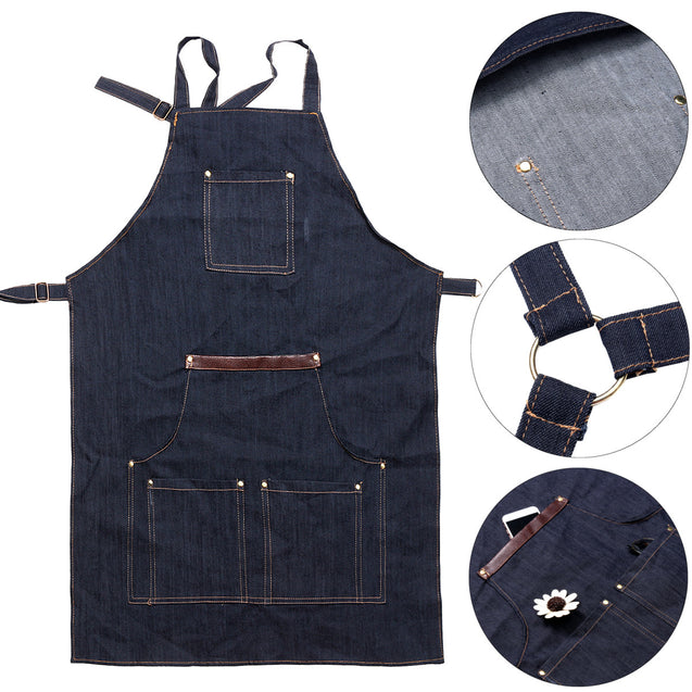 Men Ladies Denim Apron Bib Pocket Jeans Cafe Kitchen Cook Adjustable Uniform Kitchen Aprons
