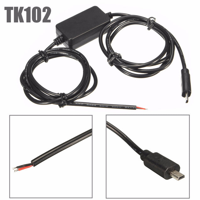 Hard Wire GPS Tracker Charger Kit Car Vehicle Battery Adapter for TK102 Nano
