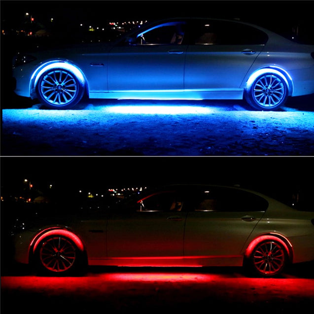 4pcs Waterproof RGB LED Car Decoration Lights Strip Neon Atmosphere Lamp Kit with Wireless Control