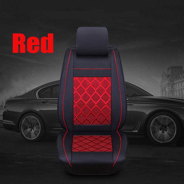 PU Leather Full Surround Car Seat Cover Set Front Rear For 5 Seat Car Pillow