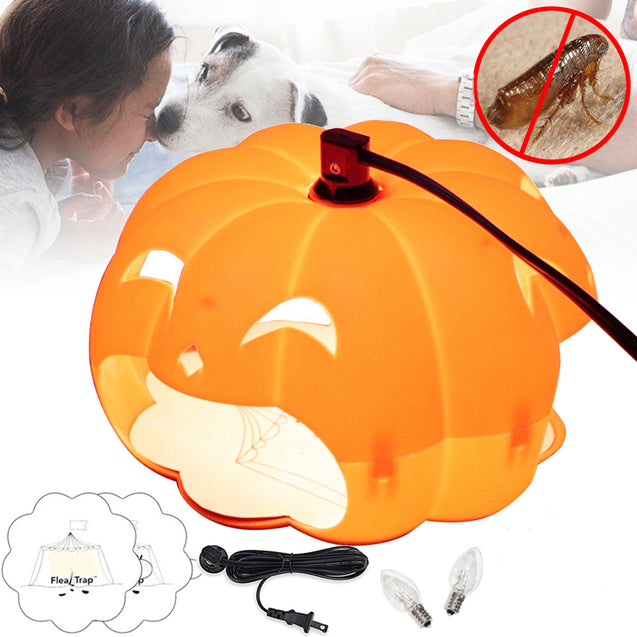Halloween Pumpkin Flea Trap Lamp Mosquito Dispeller US Two Plug Flea Killer LED Outdoor Home