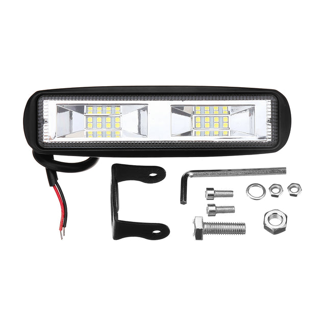 6 Inch 48W 16LED Car Work Light Flood Beam Bar SUV OffRoad Driving Fog Lamp White