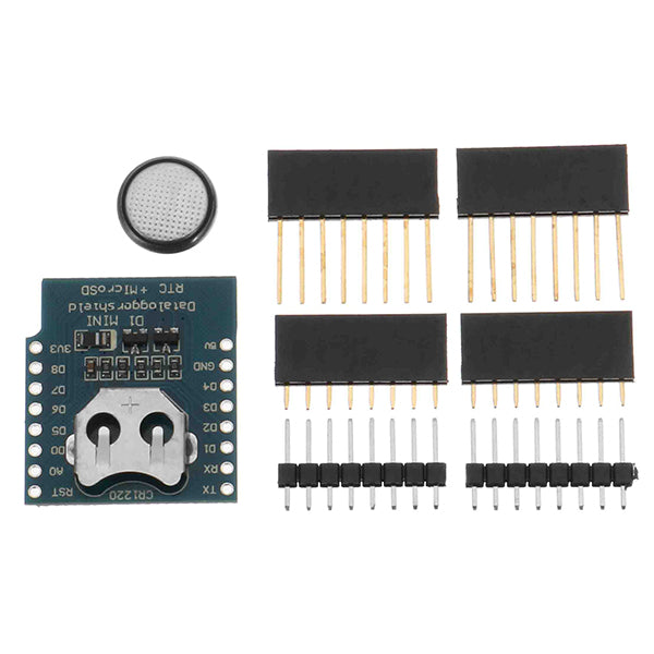 5Pcs Wemos DataLog Shield For WeMos D1 Mini RTC DS1307 With Battery + Micro Sd