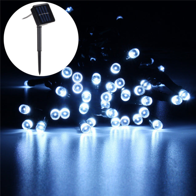 Solar Powered 72LED Patio Umbrella String Light Two Modes Waterproof Outdoor Festive Fairy Lamp