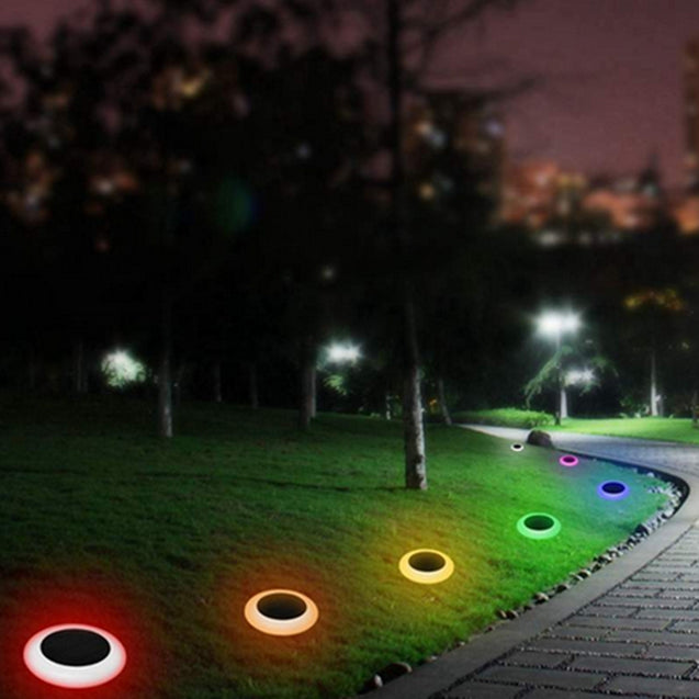 Solar Powered Plastic Round Colorful LED Lawn Light Waterproof Outdoor Garden Landscape Yard Path Lamp