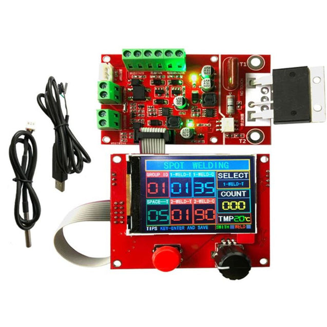 NY-D08 100A Spot Welder Controller Welding Machine Pneumatic Color LCD Display Multi-point Personalization with Temperature Sensor