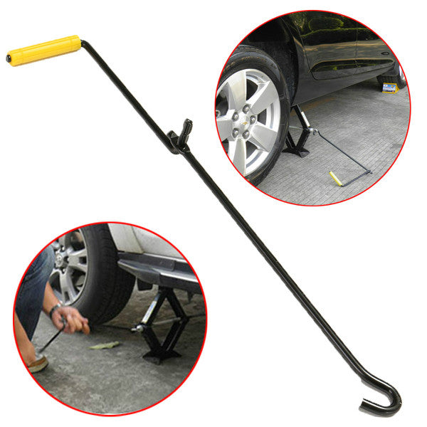 Steel Scissor Jack Handle Crank Tool Car Van Garage Tire Wheel Lug Wrench