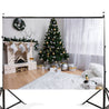 7x5FT White Room Christmas Tree Fireplace Theme Photography Backdrop Studio Prop Background