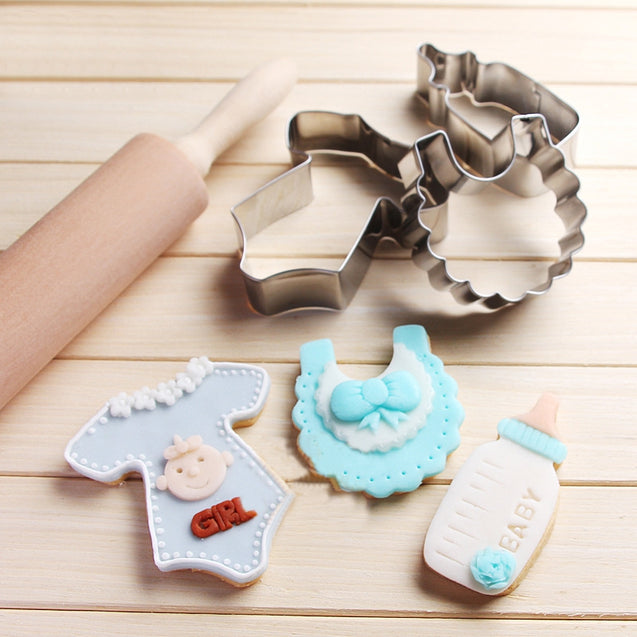 Stainless Steel Baking Mold Cookies Cutter Baby Clothes Bib Milk Bottle Cake Fondant Mold