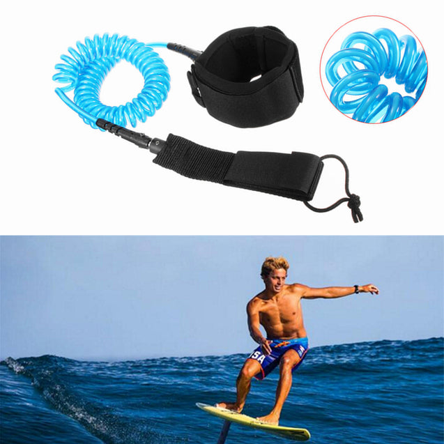 IPRee 10ft 7mm Coiled Surfboard Leash Surfing Stand UP Paddle Board String Leg Rope