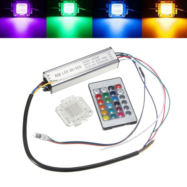 50W RGB Chip Light Bulb Waterproof LED Driver Power Supply with Remote Controller