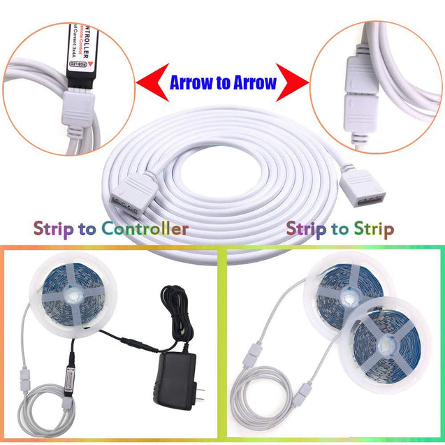 2M 5Pin RGBW Extension Cable Cord Wire + 4PCS Needle Connectors for 5050 3528 RGB RGBW LED Strip light