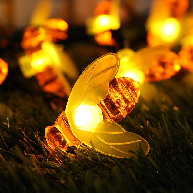 Solar Powered Warm White 20LEDs Bee Shaped Outdoor Fairy String Lights for Garden Christmas Patio