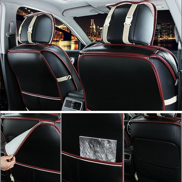 Black PU Leather Full Surround Car Seat Cover Cushion Front & Rear Set Fit for 5 Seat Car