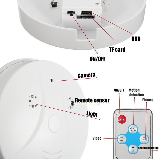 Mini HD DVR Hidden Camera Smoke Detector Motion Detection Video Recorder Camera