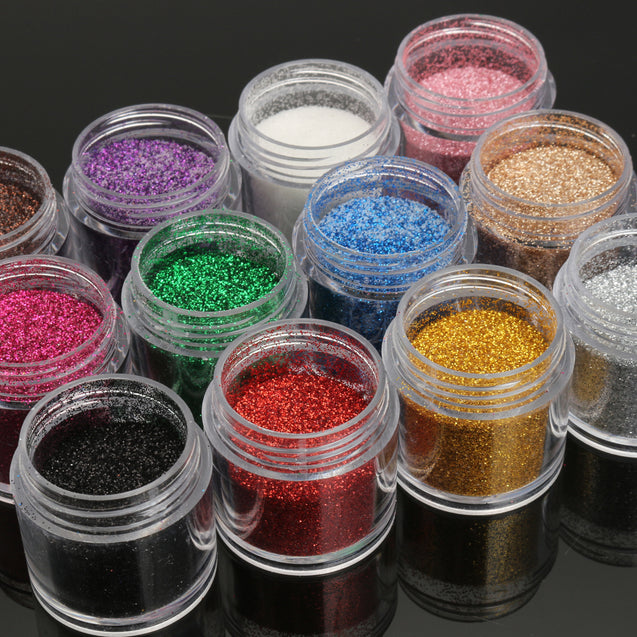 Pink Purple Nail Art Acrylic Glitter Powder Dust Tips Eyeshadow Body Face Decoration Tool 12 Colors