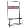 Industrial Coat Rack Shoe Bench Hall Tree Entryway Storage Shelf Cloth Hanger Wood Furniture