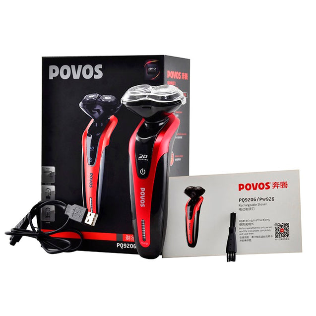 POVOS PQ9206 Electric Razor USB Charging 3 In 1 Shaver Face Brush Nose Hair Trimmer For Men