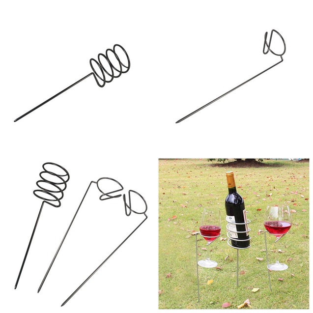 IPRee 3Pcs/set Camping Wine Glass Bottle Rack Holder Iron Support Frame Lawn Picnic Wine Shelf
