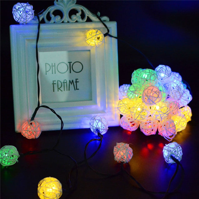 Solar Powered 5M 20LEDs Multicolor Rattan Ball String Light For Wedding Party