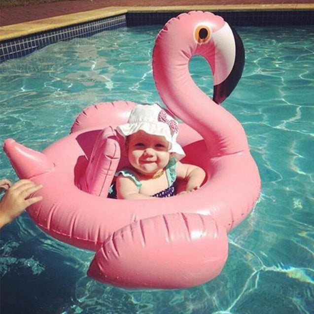 Inflatable Flamingo Swim Ring Swimming Pool Water Floating Seat Baby Child Toy