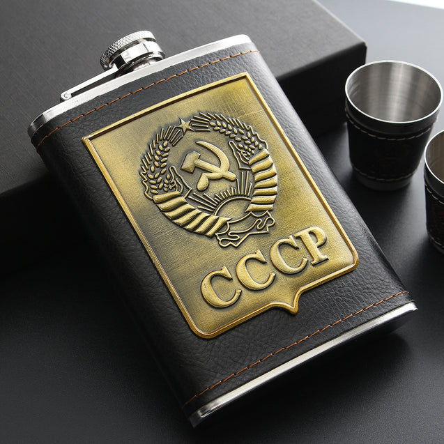 IPRee Outdoor 8oz Liquor Bottles CCCP Stainless Steel Hip Flask Whiskey Cup Funnel