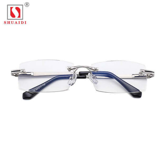 SHUAIDI Rimless Men Glasses Anti Blue Rays Radiation Computer Optical Resin Clear Transparent Lens Frameless Eyeglasses with Case