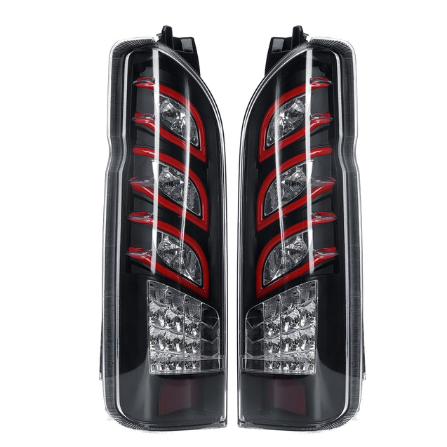 12V Clear (Pair) of LED Car Tail Light Rear Lamp Assembly For TOYOTA Hiace 2005-2017 Sequential Turning Signal Fog Light
