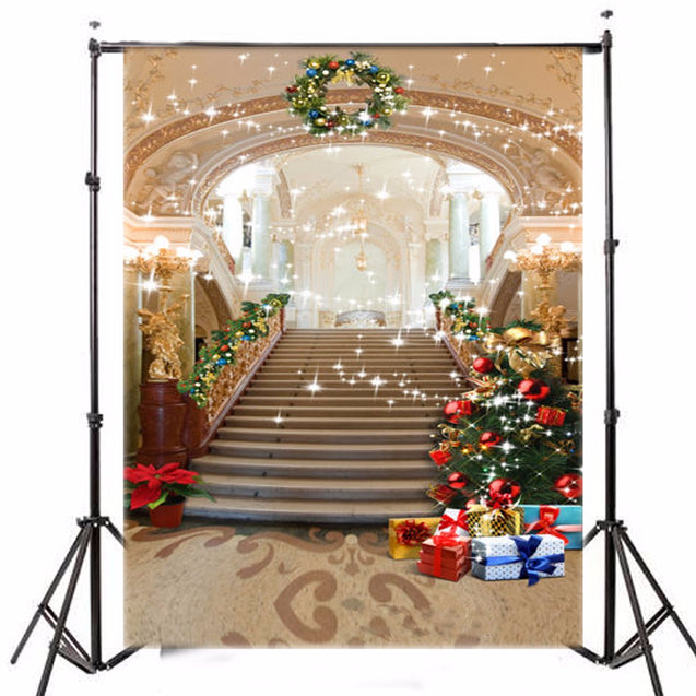 1.5x2.1m Vinyl Background Christmas Tree European Palace Stairs Studio Backdrop
