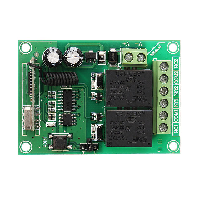 433MHz 12V 2CH 2 Channel Wireless Remote Control Switch + 2 Button Transmitter Learning Code