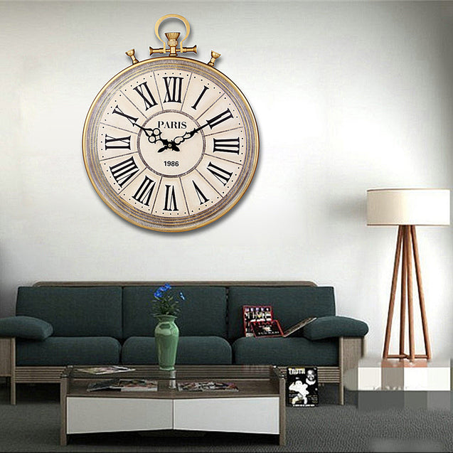 Large Round Vintage Pocket Watch Style Roman Numerals Wall Clock Home Decoration