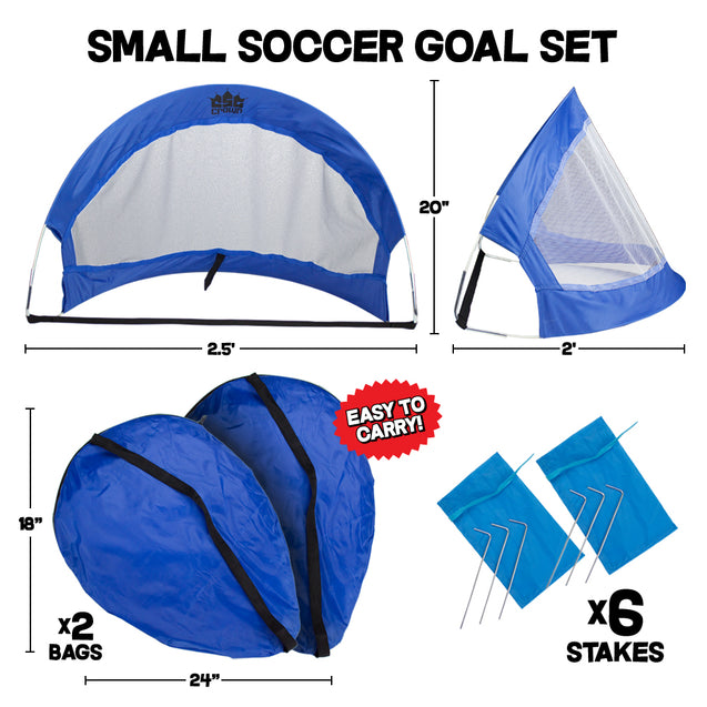Set of 2, 2.5' Pop Up Soccer Goals with 2 Carrying Bags