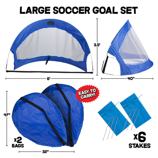 Set of 2, 6' Pop Up Soccer Goals with 2 Carrying Bags