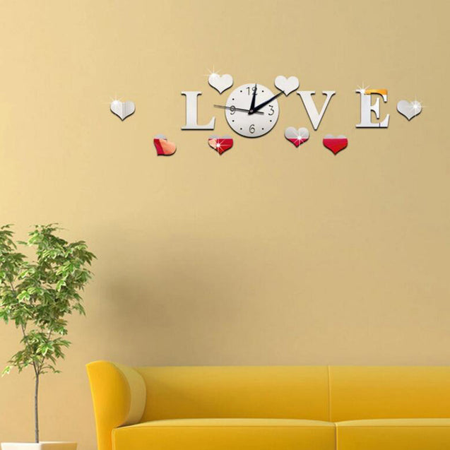 Honana DX-X2 Creative Love 3D Acrylic Mirror Wall Sticker Quartz Clocks Watch Large Home Decor