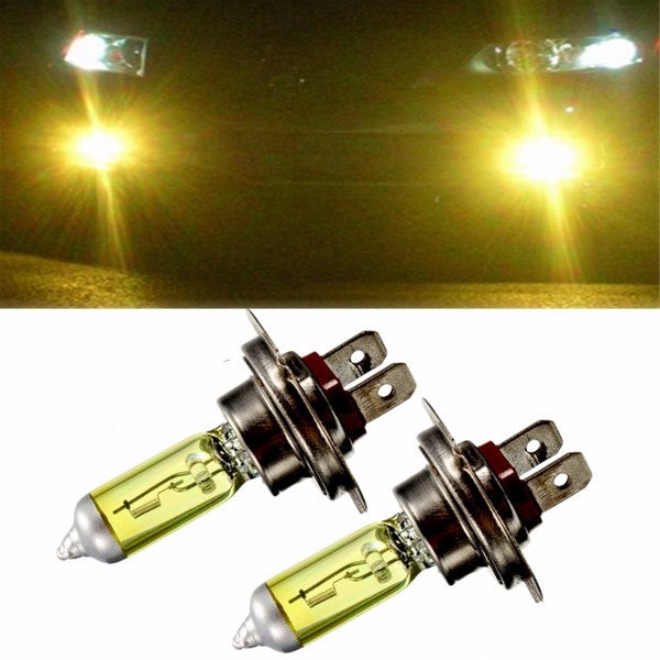 Pair 55W 12V H7 Amber Xenon Headlight High Beam Halogen Light Lamp Bulbs