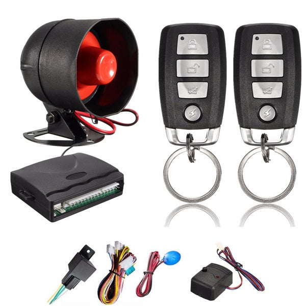 1 Way Car Security Alarm System w/2 Key Remote Controls Shock Sensor Universal