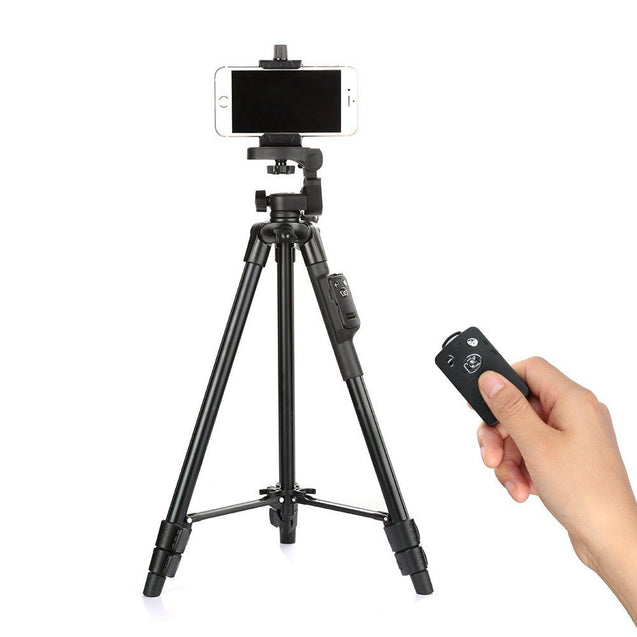 YunTeng 5208 Aluminum Tripod with 3-Way Head & Bluetooth Remote and Clip for Camera Phone
