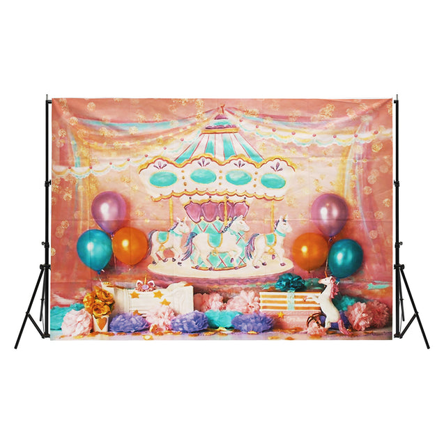 7x5FT Unicorn Birthday Pink Carousel Ribbon Photography Backdrop Studio Prop Background