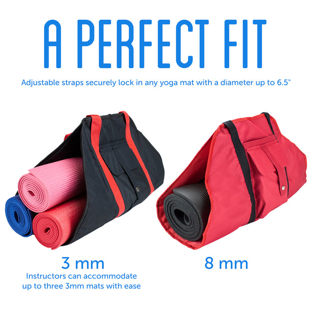 Black Yoga Mat Cargo Carrier with Adjustable Straps