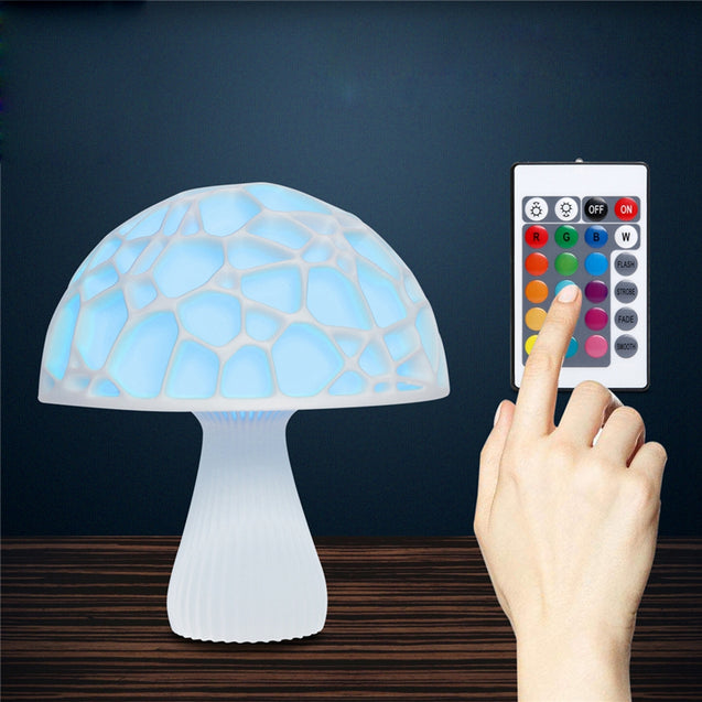 15cm 3D Mushroom Night Light Remote Touch Control 16 Colors USB Rechargeable Table Lamp for Home Decoration