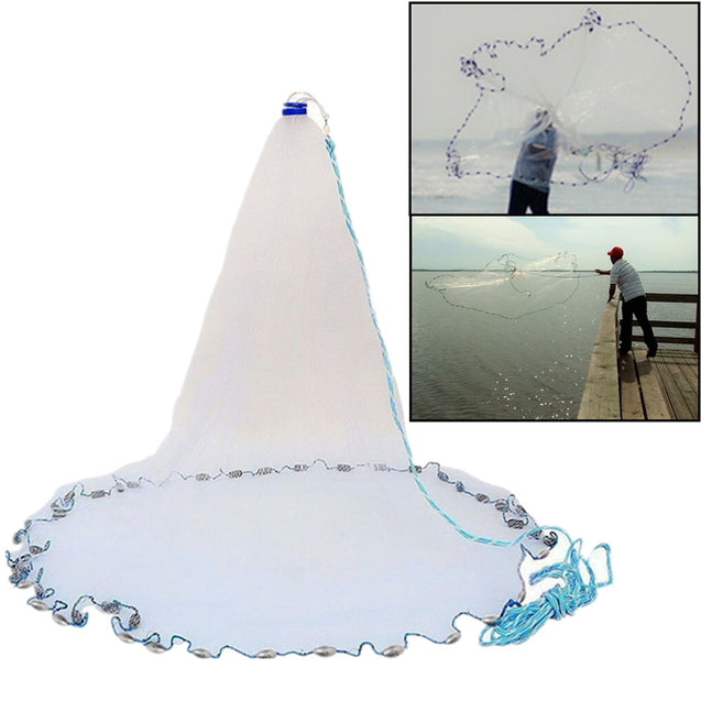 Nylon 3.6m/10ft Fishing Cast Net American Style Throwing Trap Fishing Net With Sinker