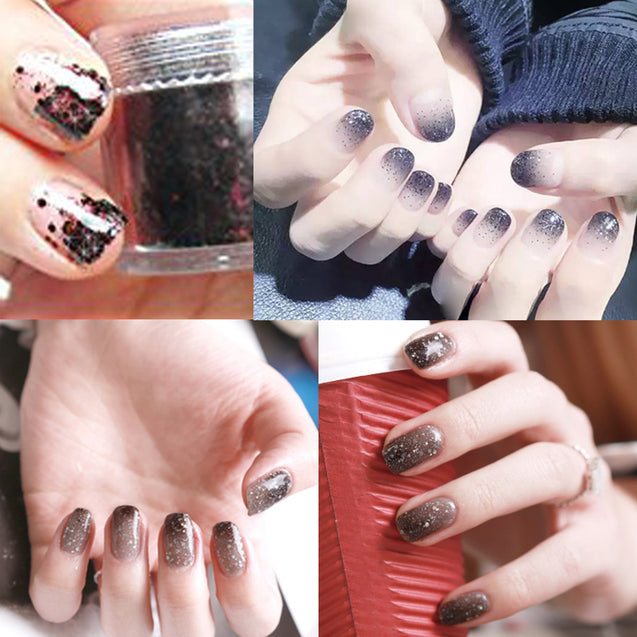 10ml 4 Colors Black Nail Glitter Powder Sequins Nail Art Decoration Halloween