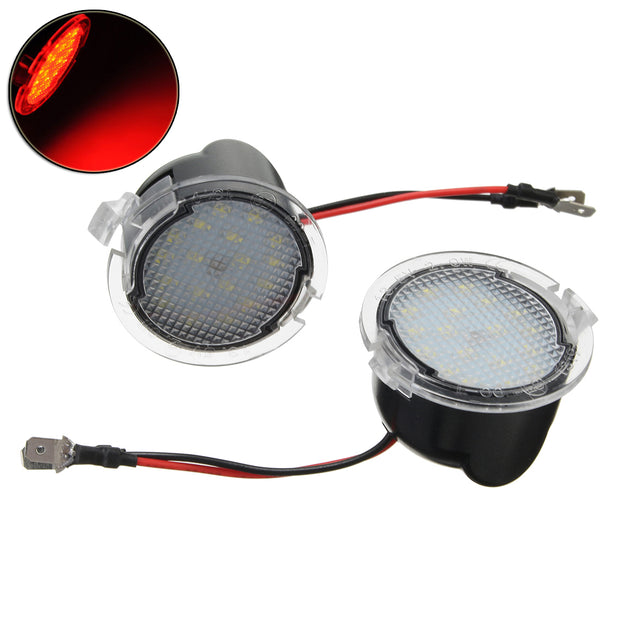 Pair Red LED Side View Mirror Puddle Light for Ford Edge Mondeo Focus C-Max Kuga S-Max