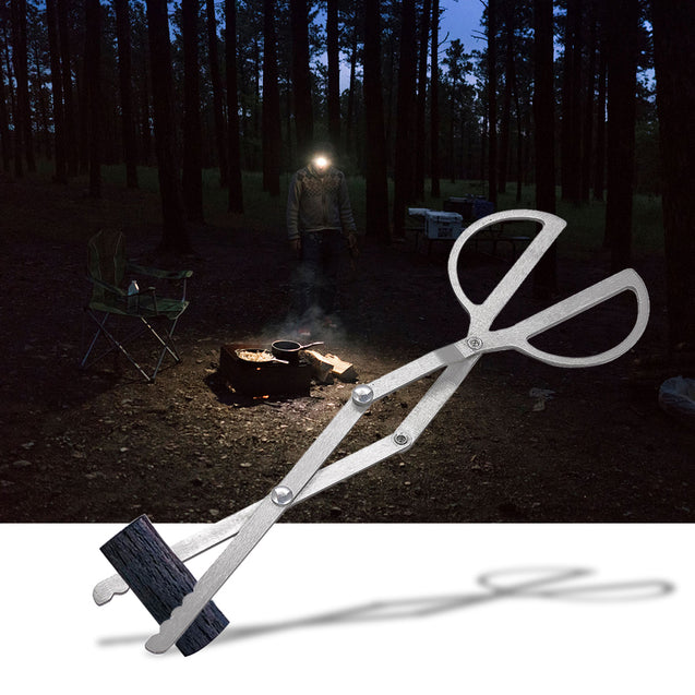 Folding Wood Tongs Log Grabber Tweezers Clamp Portable Camping BBQ Steel Tweezers Clip