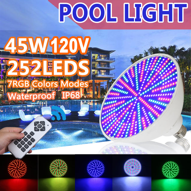 45W 252 LED Swimming Pool Light RGB Underwater IP68 Lamp 120V + Remote Control