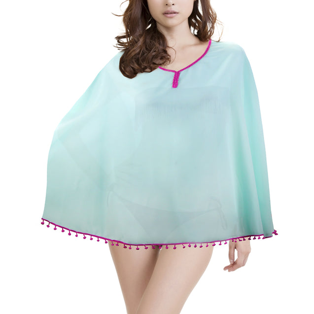 Women's Beach Poncho with Pom-Pom Trim, Mint Raspberry