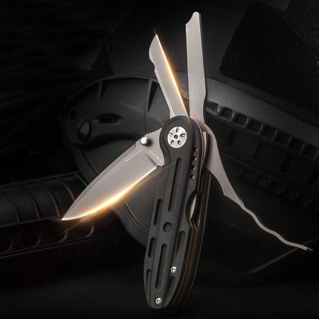 HX OUTDOORS GJ-06 2 In1 Special Forces Multifunctional Folding Knife Field Survival Saber EDC Knife