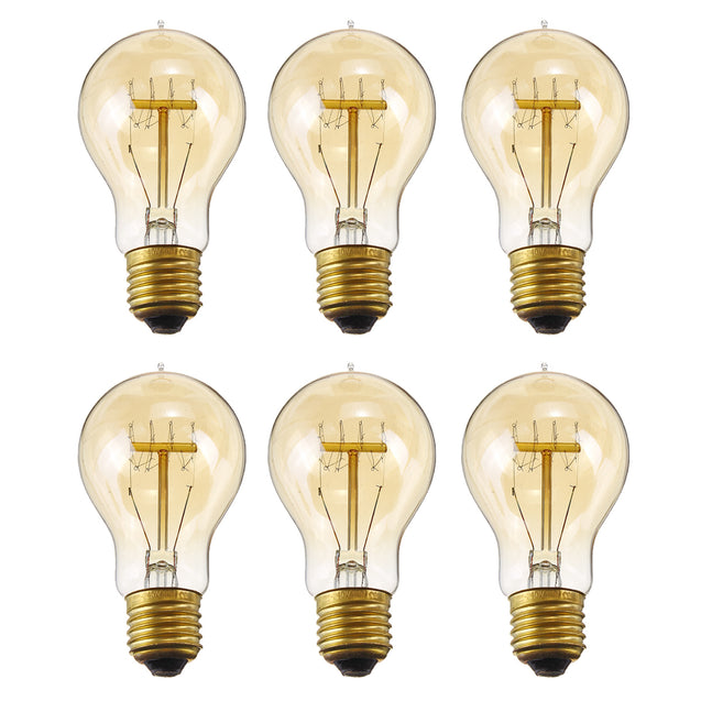6PCS E27 A19 40W Warm White Dimmable Incandescent Edison Light Bulb for Indoor Home Garden AC220V